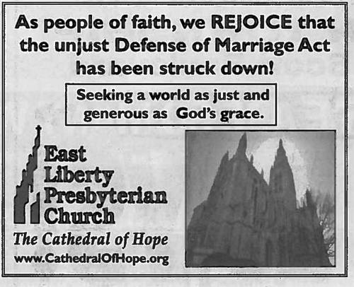The ads express our joy at the overturning of the unjust Defense of Marriage Act