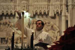 Randy lighting the Advent Wreath